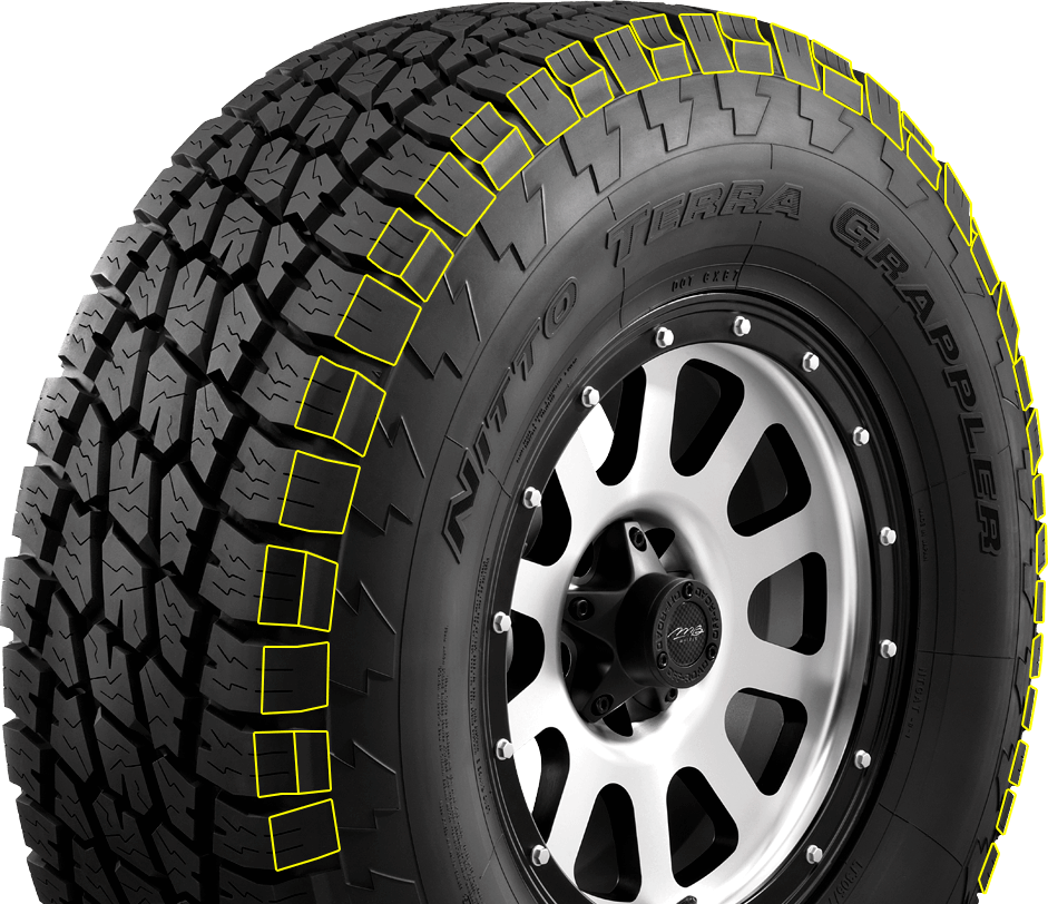 Shoulder lugs on Nitto's all terrain light truck tire
