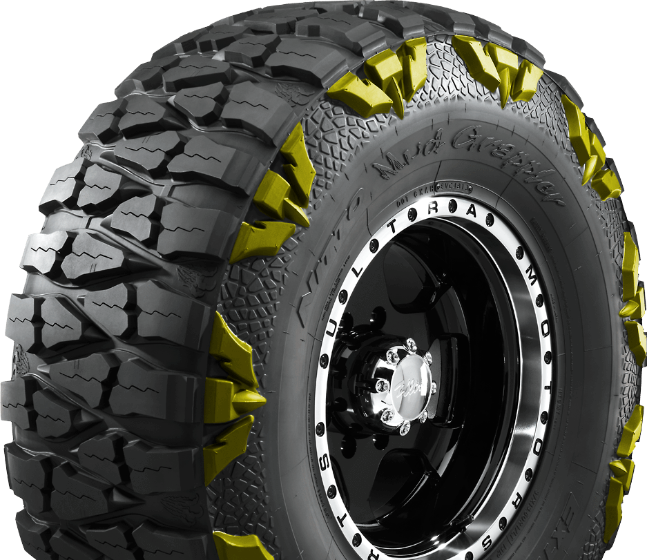 lugs on Nitto's extreme terrain light truck mud tire