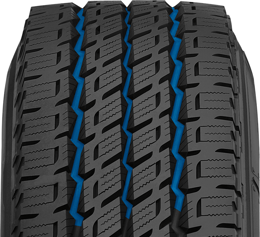 Nitto's highway light truck tire has circumferential grooves