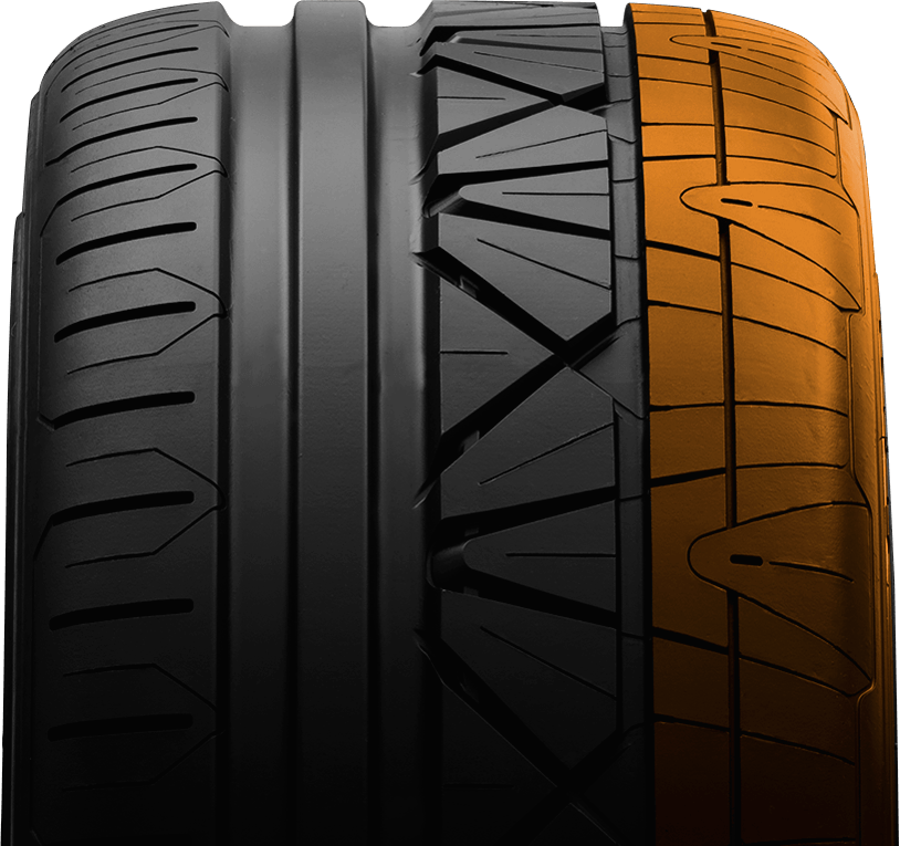 Outer shoulder of Nitto's luxury performance tire